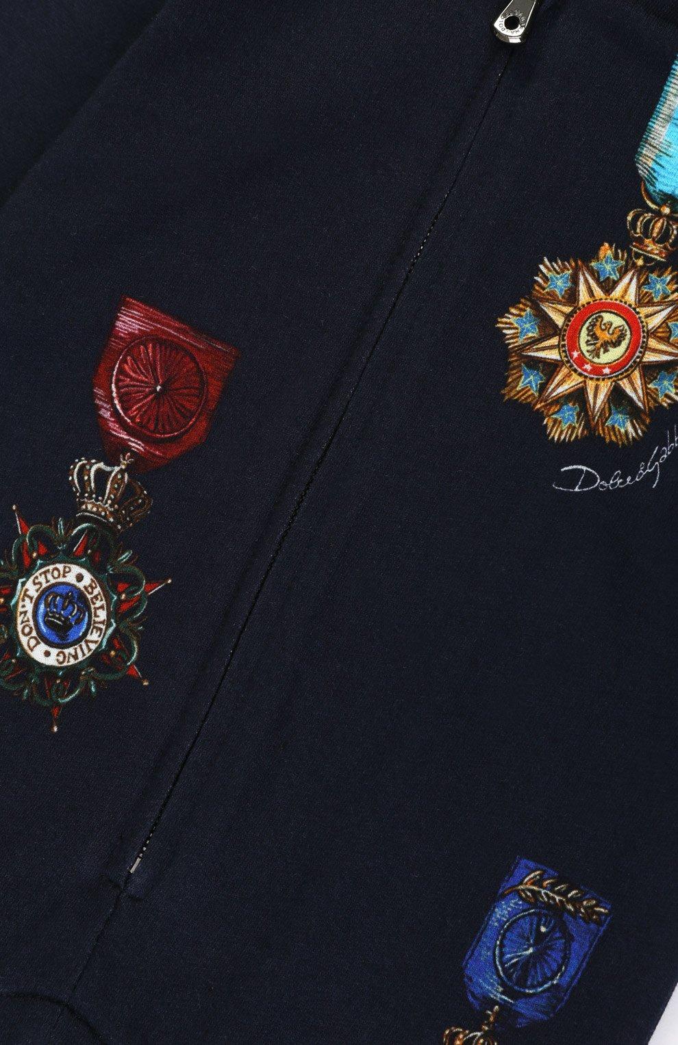 Хлопковый комбинезон с принтом Dolce & Gabbana темно-синего цвета | Фото №3