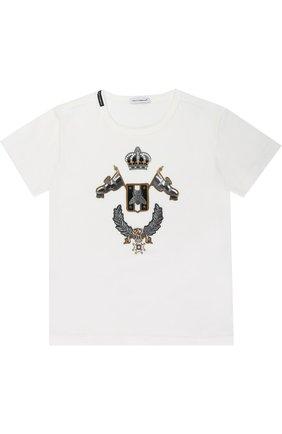 Детская хлопковая футболка с аппликациями Dolce & Gabbana белого цвета | Фото №1