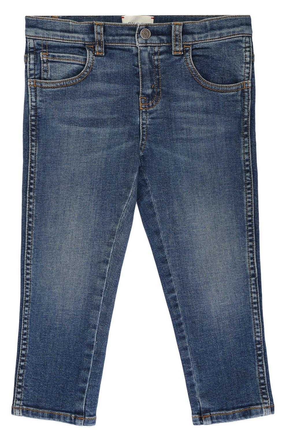 Детские джинсы прямого кроя с декоративными потертостями GUCCI синего цвета, арт. 477472/XR643   Фото 1
