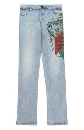 Детские джинсы прямого кроя с принтом и аппликацией Dolce & Gabbana голубого цвета | Фото №1
