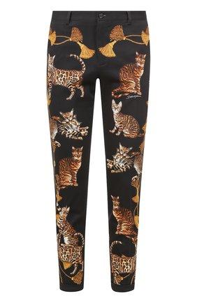 Хлопковые брюки прямого кроя с принтом Dolce & Gabbana черные | Фото №1
