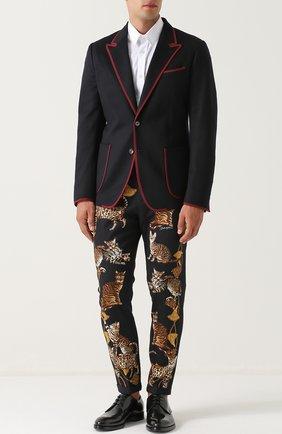Хлопковые брюки прямого кроя с принтом Dolce & Gabbana черные | Фото №2