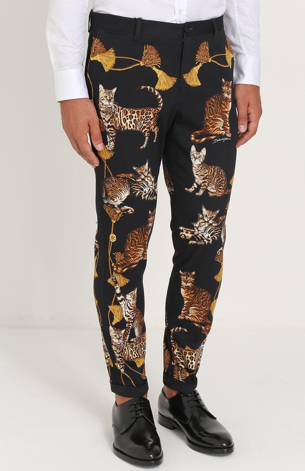 Хлопковые брюки прямого кроя с принтом Dolce & Gabbana черные | Фото №3
