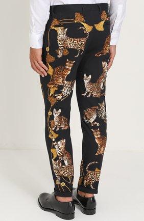 Хлопковые брюки прямого кроя с принтом Dolce & Gabbana черные | Фото №4