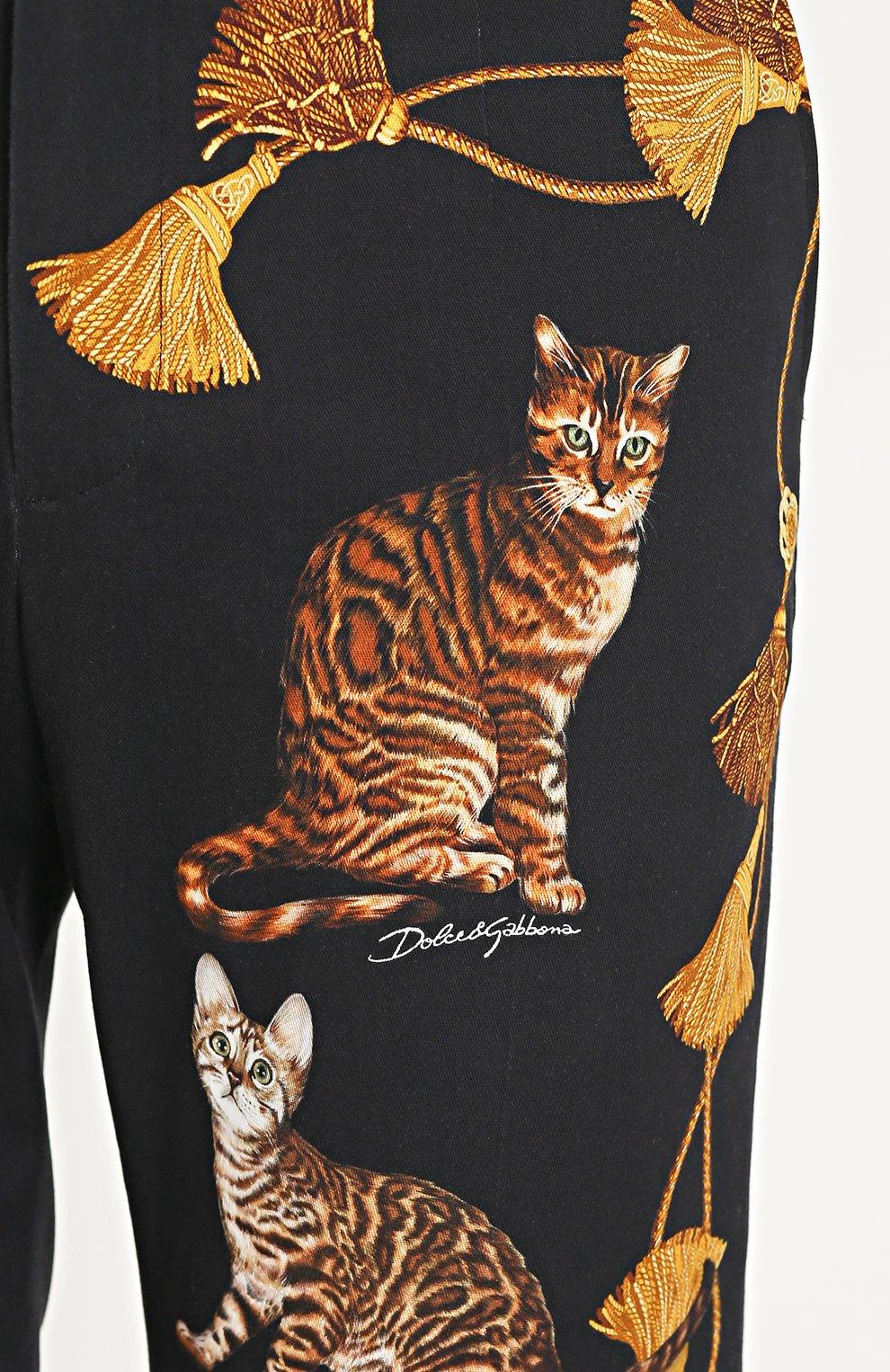 Хлопковые брюки прямого кроя с принтом Dolce & Gabbana черные | Фото №5