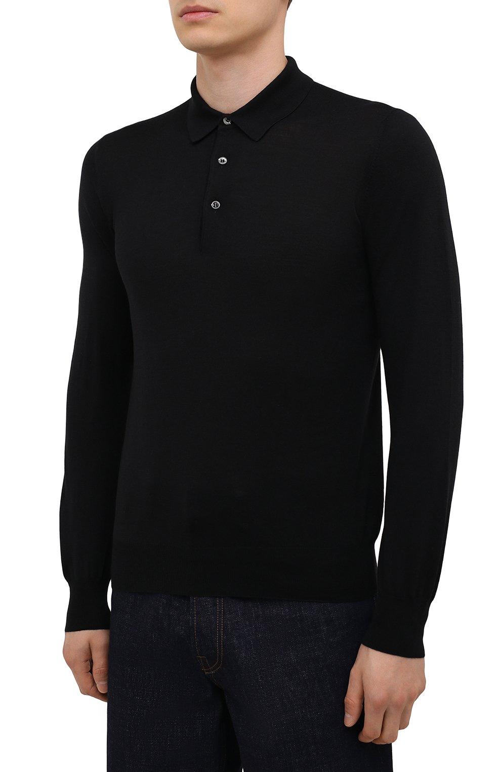 Мужское шерстяное поло GRAN SASSO черного цвета, арт. 45132/14790 | Фото 3