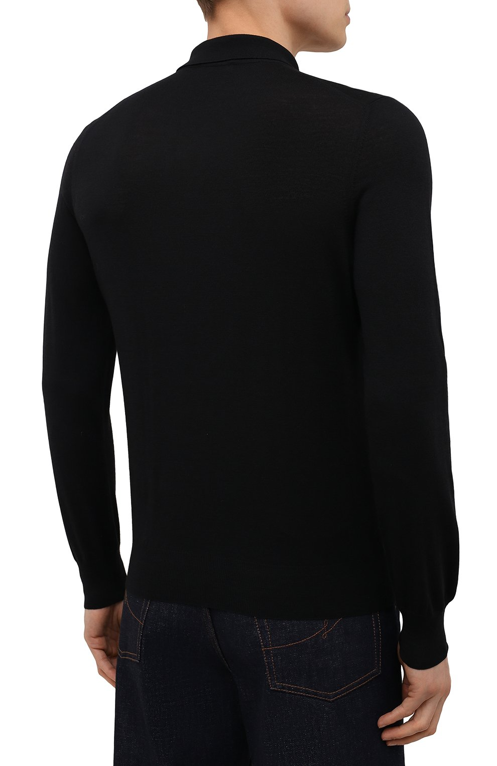 Мужское шерстяное поло GRAN SASSO черного цвета, арт. 45132/14790 | Фото 4
