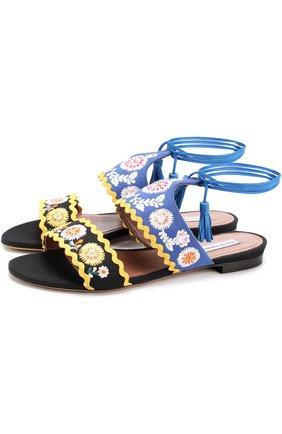 Текстильные сандалии с вышивкой | Фото №1