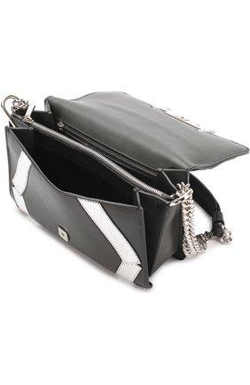 Сумка Mini Double T с отделкой из кожи питона Tod's черная цвета | Фото №4