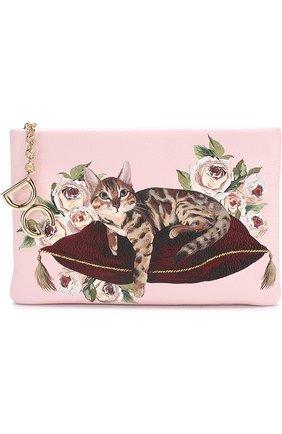 Клатч Cleo с принтом Dolce & Gabbana розового цвета | Фото №1