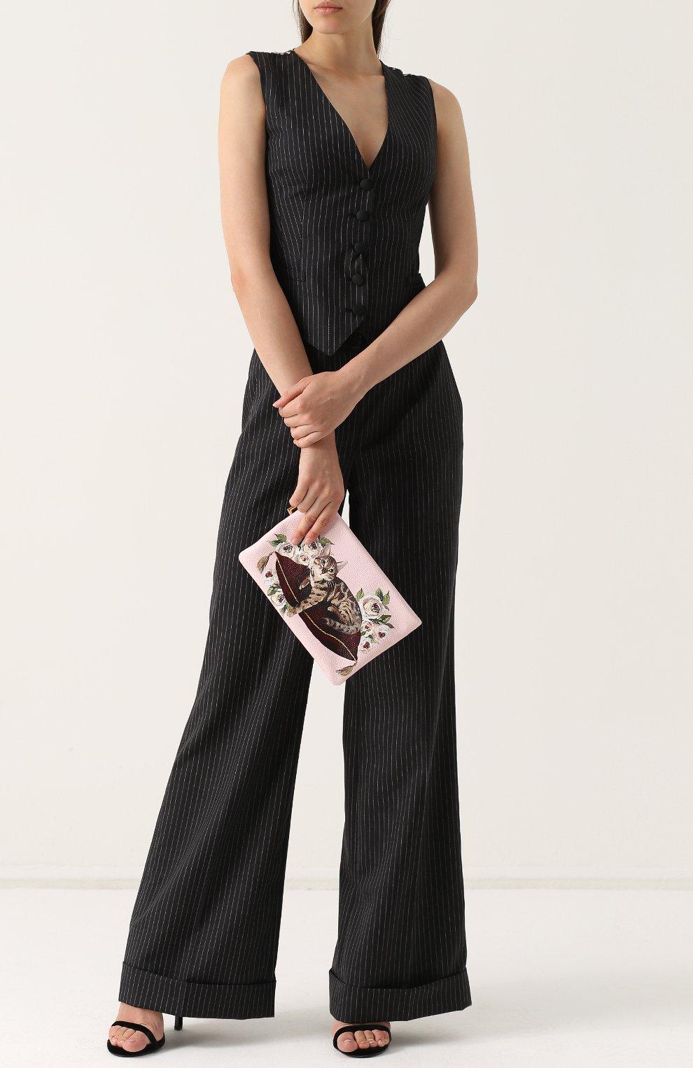 Клатч Cleo с принтом Dolce & Gabbana розового цвета | Фото №2