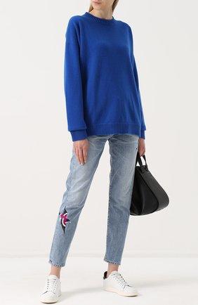 Пуловер свободного кроя с круглым вырезом Fine Edge синий | Фото №1