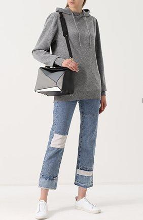 Шерстяной пуловер с капюшоном Fine Edge серый | Фото №1