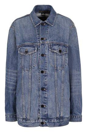 Удлиненная джинсовая куртка с потертостями | Фото №1