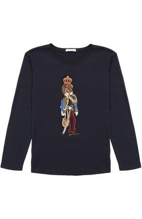 Детская хлопковый лонгслив с аппликацией Dolce & Gabbana темно-синего цвета | Фото №1