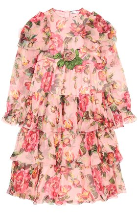 Детское шелковое платье с оборками и цветочным принтом Dolce & Gabbana розового цвета | Фото №1
