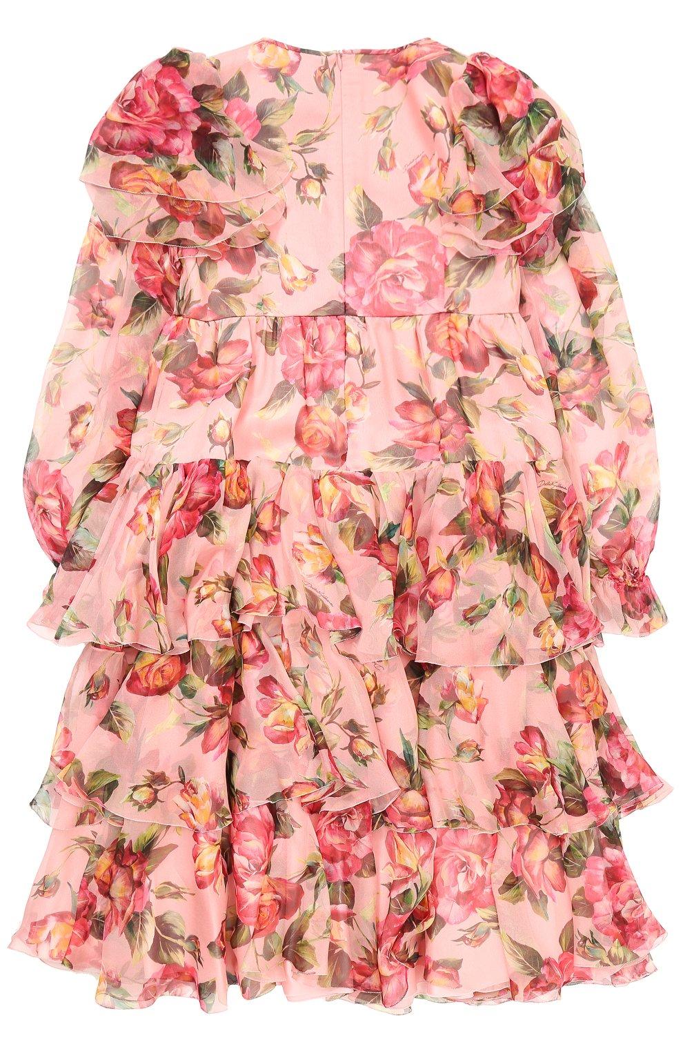 Детское шелковое платье с оборками и цветочным принтом Dolce & Gabbana розового цвета | Фото №2