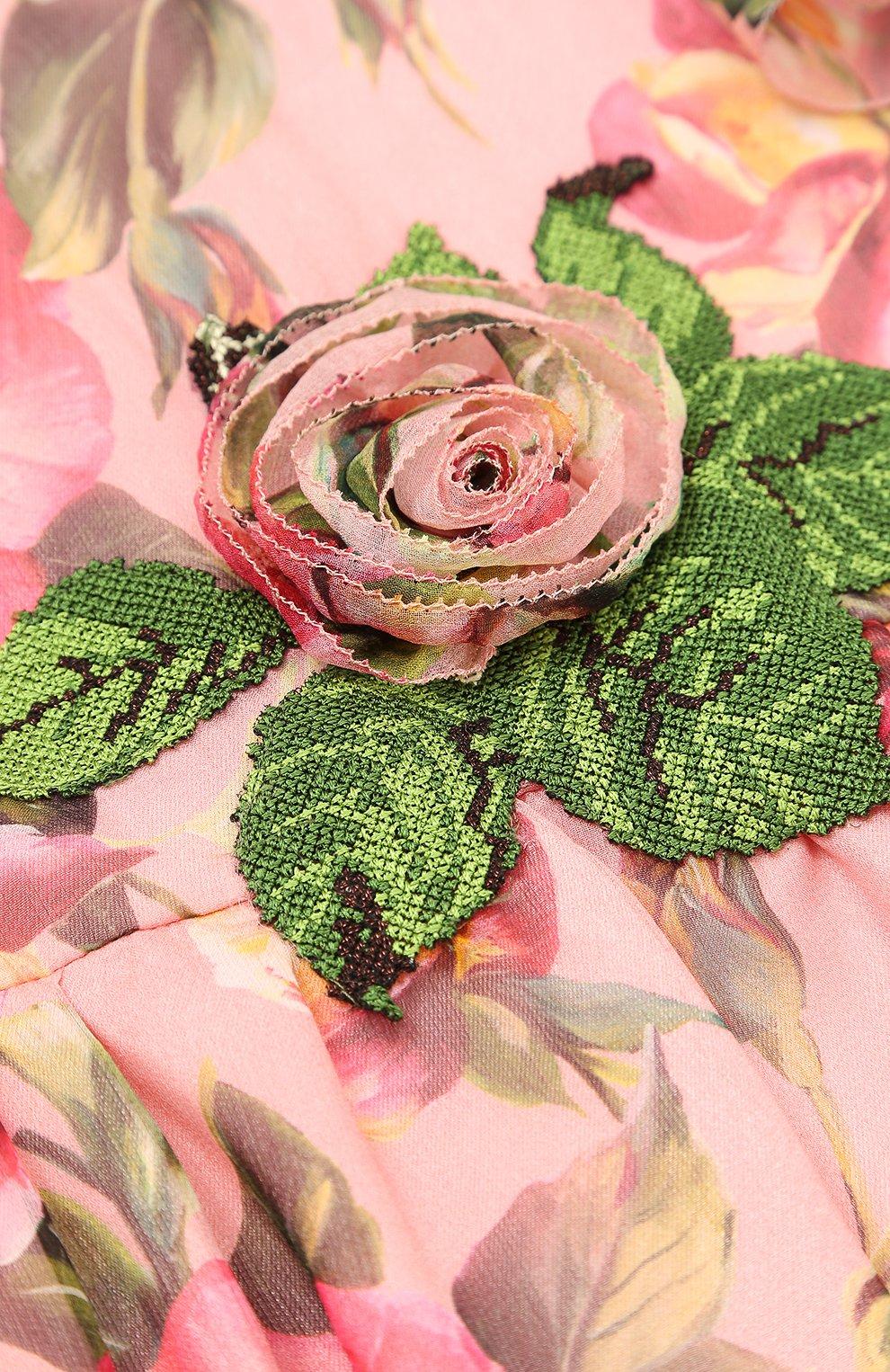 Детское шелковое платье с оборками и цветочным принтом Dolce & Gabbana розового цвета | Фото №3