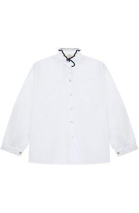 Хлопковая блуза с контрастной отделкой и воротником-стойкой | Фото №1