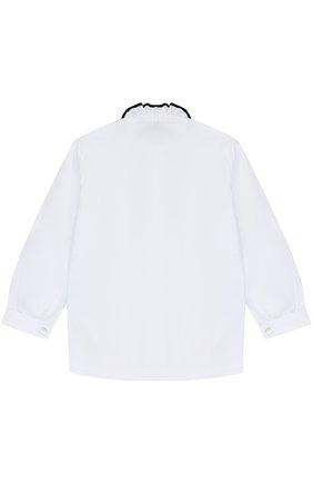 Хлопковая блуза с контрастной отделкой и воротником-стойкой | Фото №2