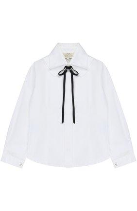 Хлопковая блуза с воротником аскот и бантом | Фото №1