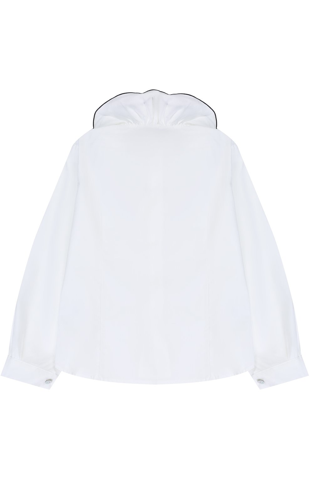 Хлопковая блуза с декоративным воротником и контрастной отделкой | Фото №2