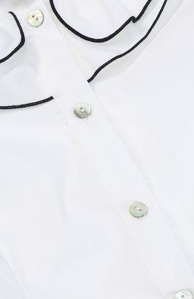 Хлопковая блуза с декоративным воротником и контрастной отделкой | Фото №3