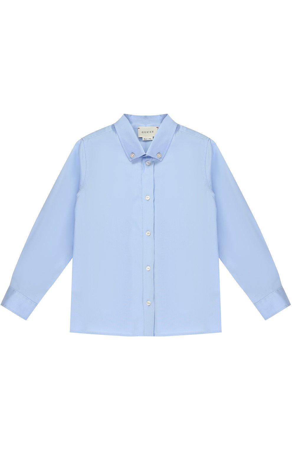 Детский хлопковая рубашка с воротником button down GUCCI голубого цвета, арт. 430284/XB365   Фото 1