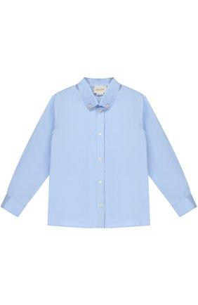 Детский хлопковая рубашка с воротником button down GUCCI голубого цвета, арт. 430284/XB365 | Фото 1
