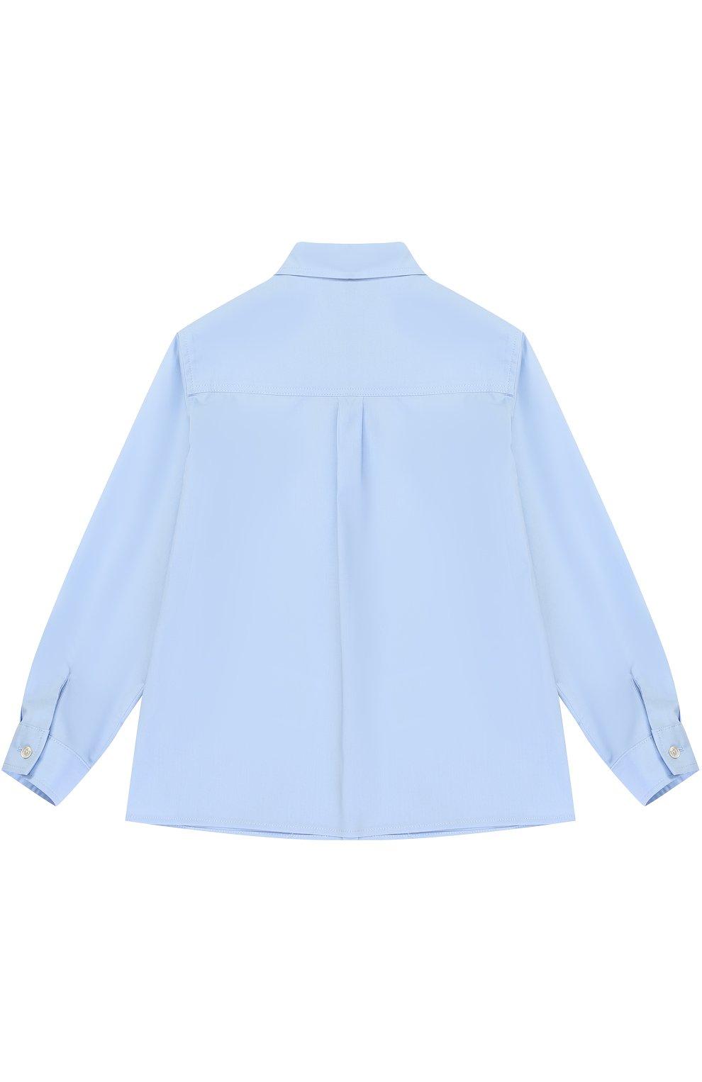 Детский хлопковая рубашка с воротником button down GUCCI голубого цвета, арт. 430284/XB365   Фото 2