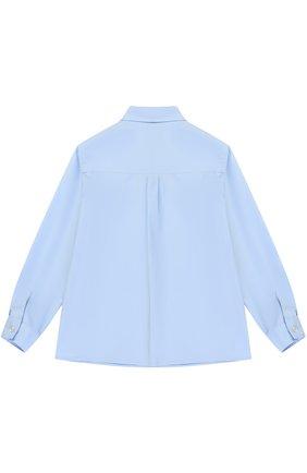 Детский хлопковая рубашка с воротником button down GUCCI голубого цвета, арт. 430284/XB365 | Фото 2