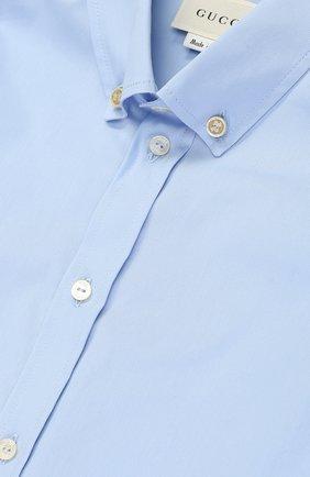 Детский хлопковая рубашка с воротником button down GUCCI голубого цвета, арт. 430284/XB365   Фото 3