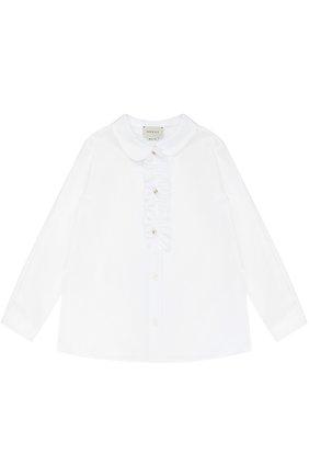 Хлопковая блуза с рюшей | Фото №1
