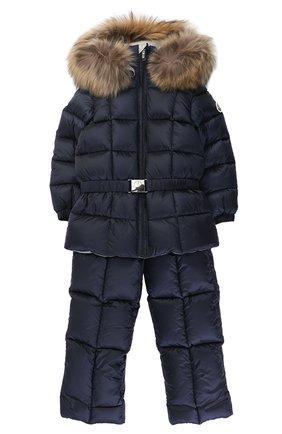 Детского пуховый комплект из комбинезона и куртки с меховой отделкой MONCLER ENFANT синего цвета, арт. C2-951-70336-25-53048 | Фото 1