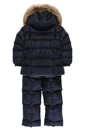 Детского пуховый комплект из комбинезона и куртки с меховой отделкой MONCLER ENFANT синего цвета, арт. C2-951-70336-25-53048 | Фото 2