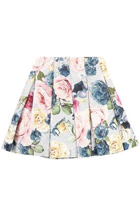 Мини-юбка с защипами и принтом | Фото №1