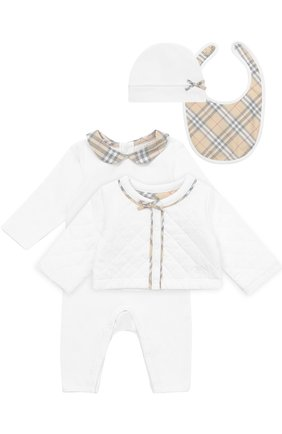 Хлопковый комплект из пижамы с нагрудником и кардигана с шапкой   Фото №1
