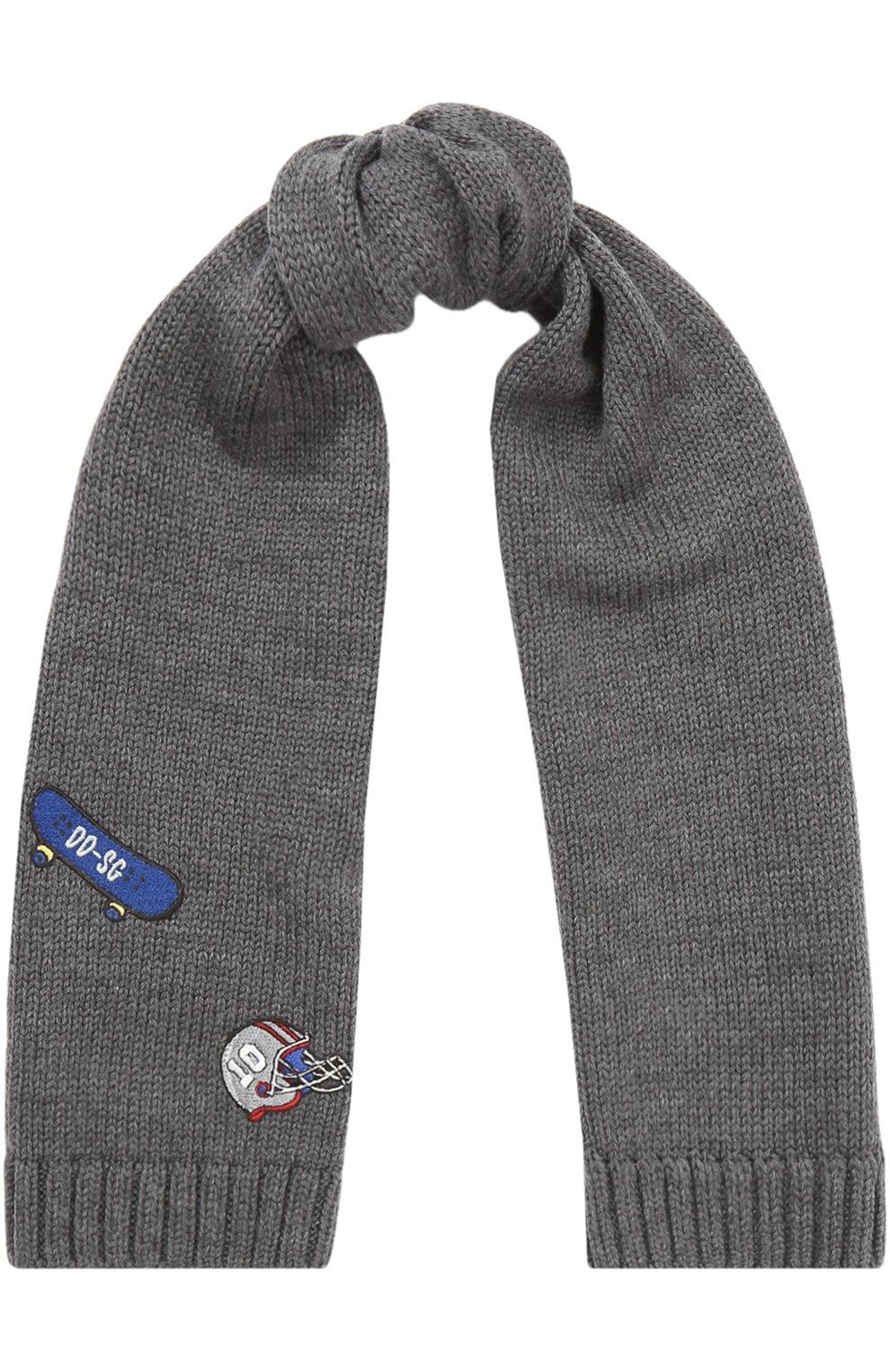 Шерстяной шарф с нашивками | Фото №1