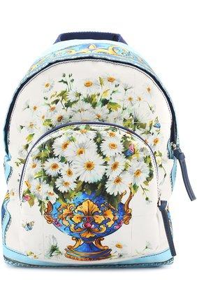 Текстильный рюкзак с принтом Dolce & Gabbana голубого цвета   Фото №1