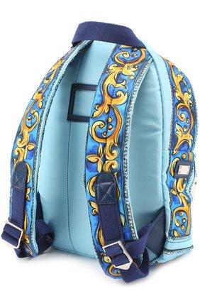 Текстильный рюкзак с принтом Dolce & Gabbana голубого цвета   Фото №2