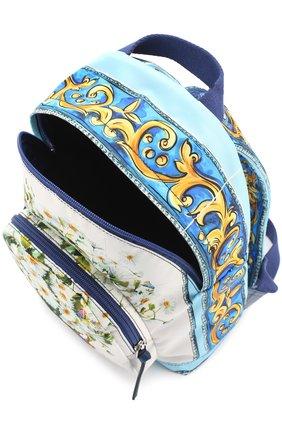 Текстильный рюкзак с принтом Dolce & Gabbana голубого цвета   Фото №3