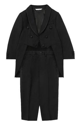 Шерстяной фрак с отделкой из шелка Dolce & Gabbana черного цвета | Фото №1