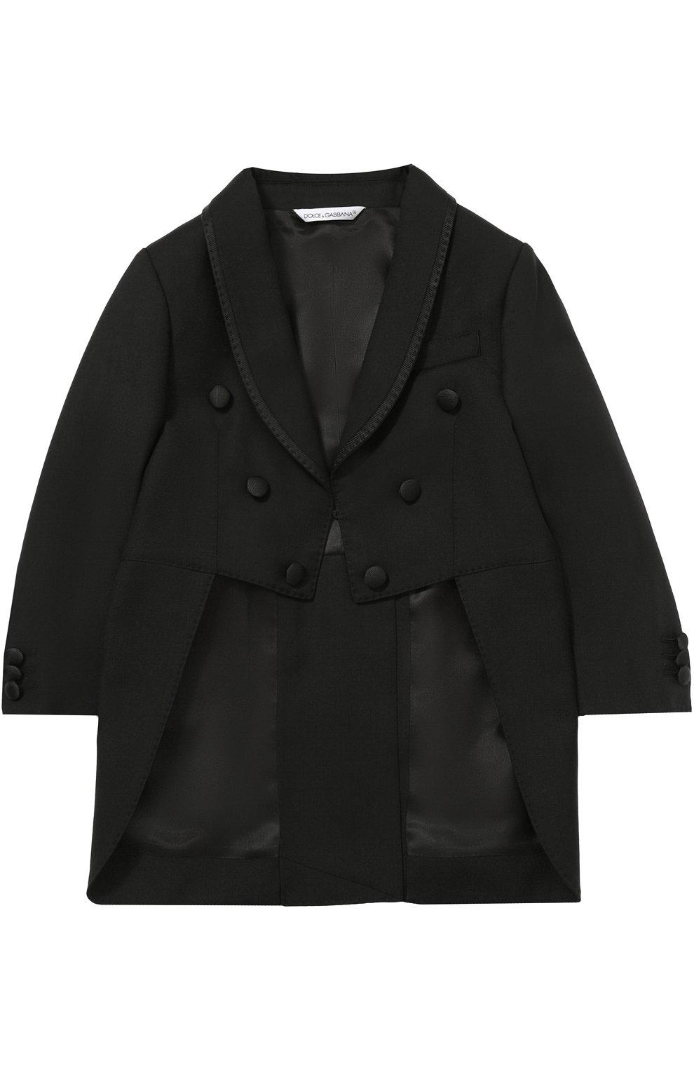 Шерстяной фрак с отделкой из шелка Dolce & Gabbana черного цвета | Фото №2