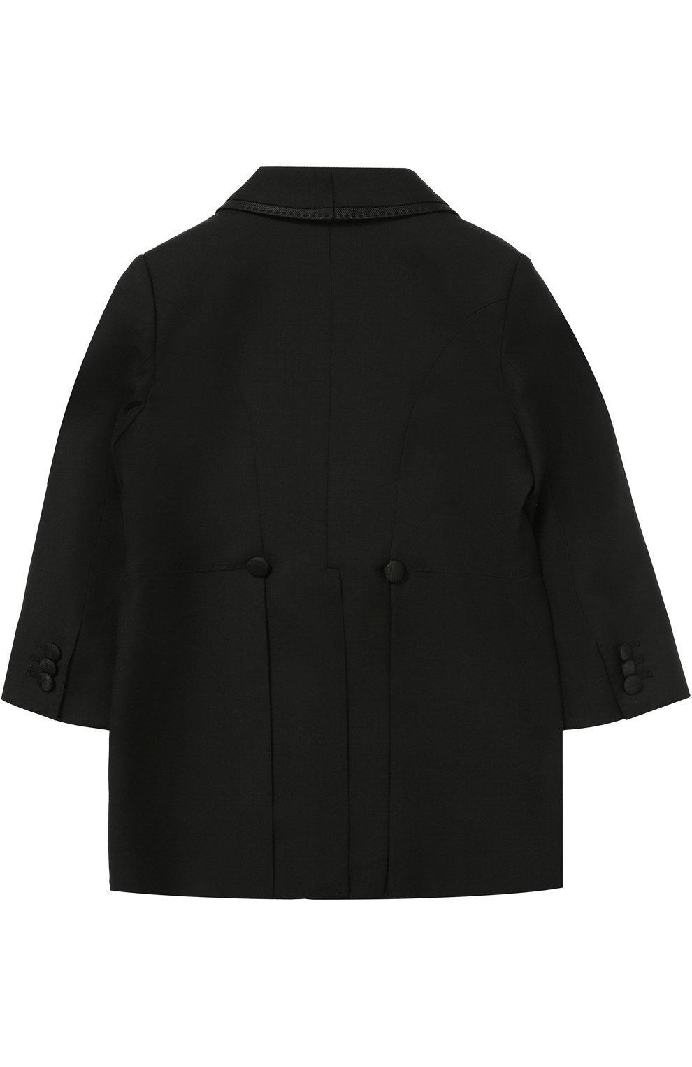 Шерстяной фрак с отделкой из шелка Dolce & Gabbana черного цвета | Фото №3