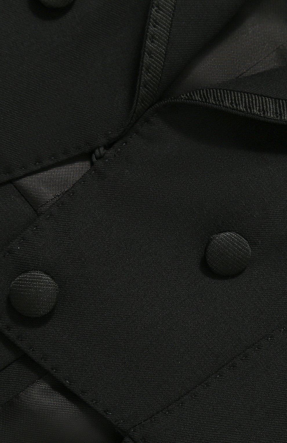 Шерстяной фрак с отделкой из шелка Dolce & Gabbana черного цвета | Фото №6