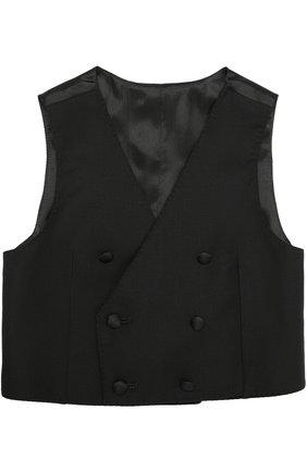 Детский двубортный жилет из шерсти и вискозы Dolce & Gabbana черного цвета | Фото №1