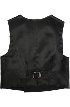 Детский двубортный жилет из шерсти и вискозы Dolce & Gabbana черного цвета | Фото №2