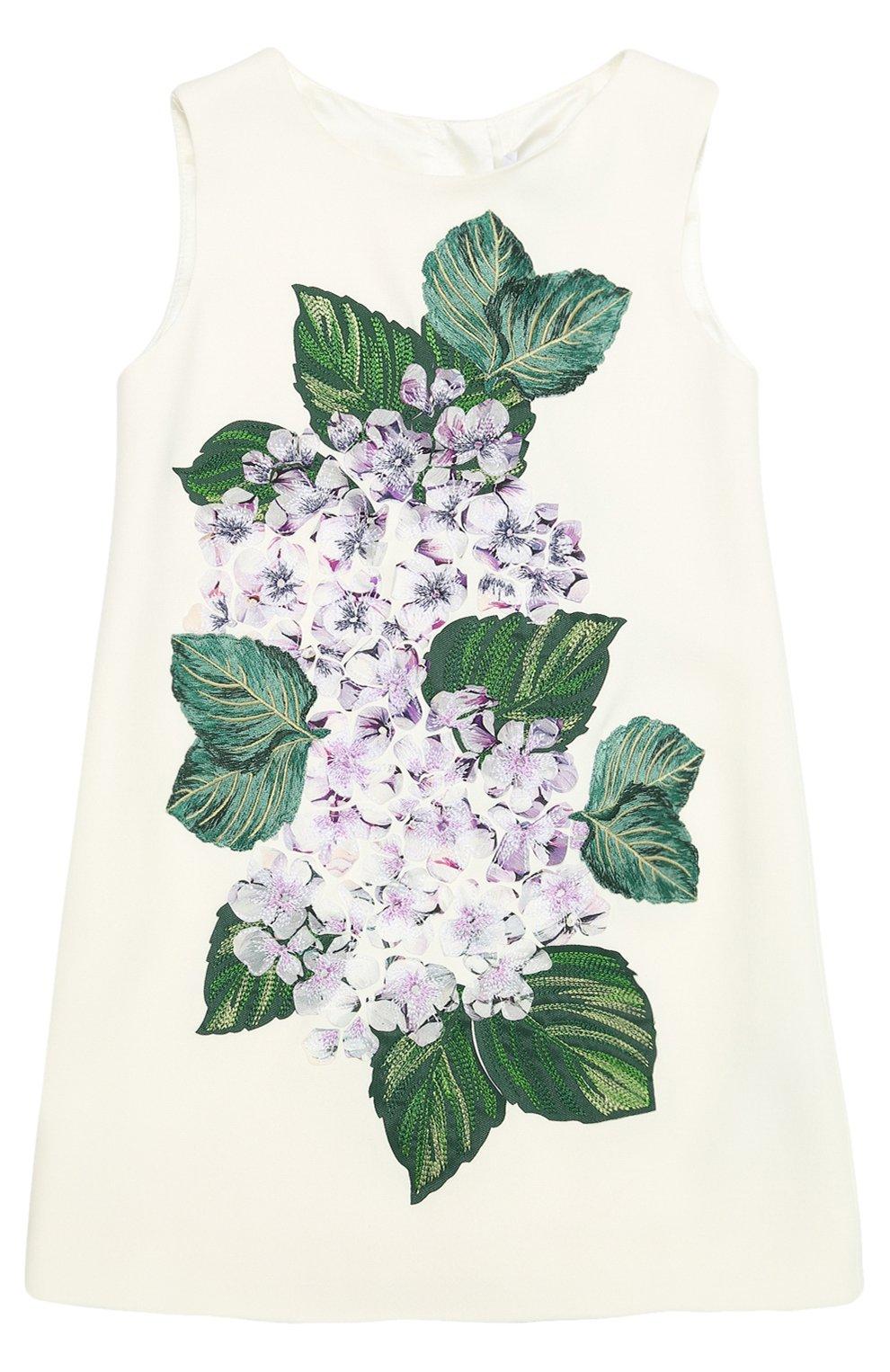 Мини-платье А-силуэта с цветочной аппликацией | Фото №1