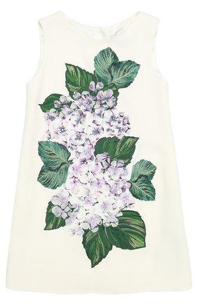 Детское мини-платье а-силуэта с цветочной аппликацией Dolce & Gabbana белого цвета | Фото №1