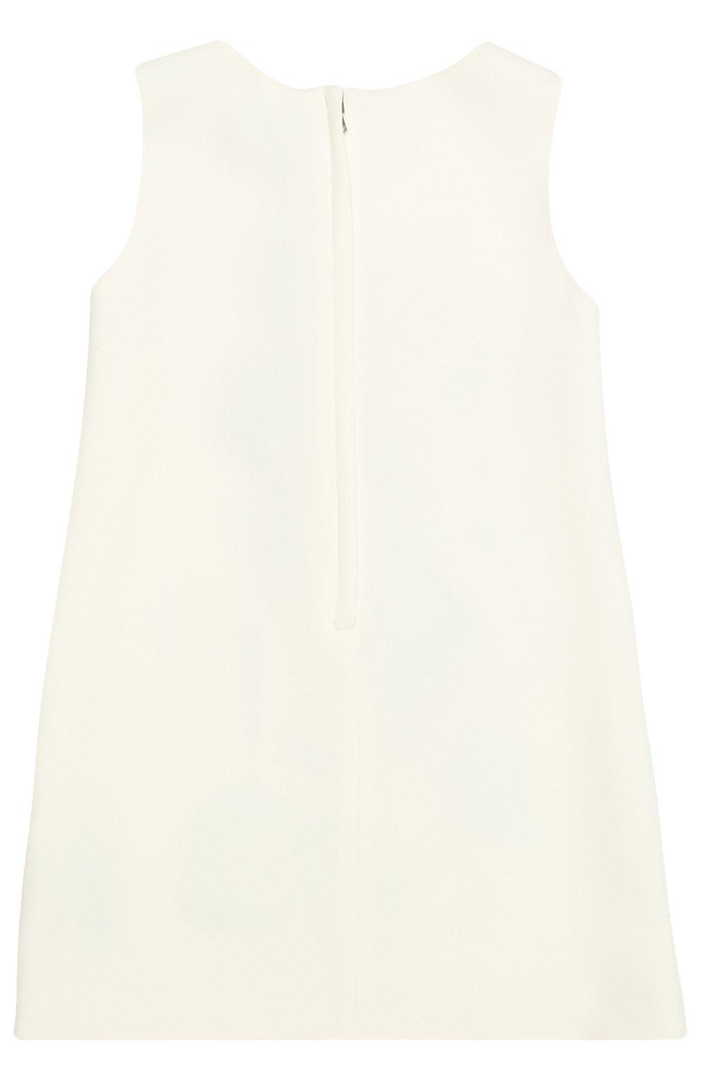 Детское мини-платье а-силуэта с цветочной аппликацией Dolce & Gabbana белого цвета | Фото №2